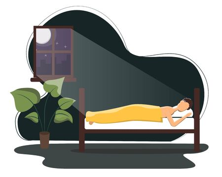 Man sleeping in his bed. Flat vector illustration on man sleeping peacefully at night in his bedroom.