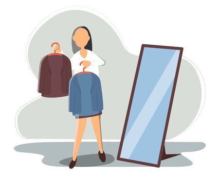 woman chooses what thing to wear to work today. Guy holds in the hands of two hangers with blue and brown jacket. Illustration