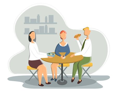 Business Lunch - vector illustration of office situation. Cartoon people characters of young female, male colleagues, partners having rest, talking.