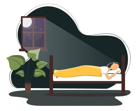 Woman sleeping in his bed. Flat vector illustration on man sleeping peacefully at night in his bedroom. Daily routine, everyday activity.