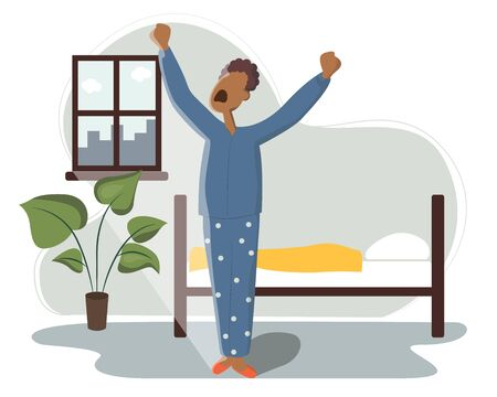 African American sleeps in bed and wakes up and yawns. The sun shines brightly through the window. Rest in the bedroom and Wake up in the morning. Start of working day, everyday life, daily activity.   イラスト・ベクター素材