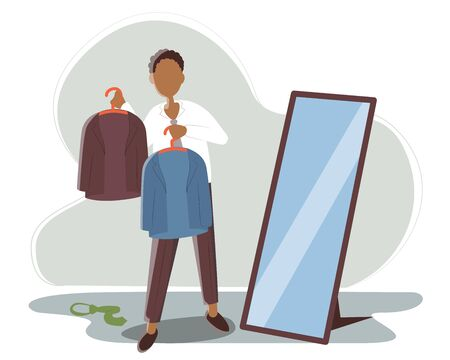 African American man chooses what thing to wear to work today. Guy holds in the hands of two hangers with blue and brown jacket. Vector flat illustration. Ilustracja
