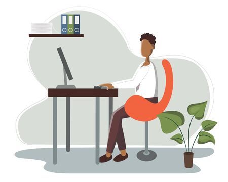 Young African American handsome Businessman is sitting legs crossed typing something on the desktop computer. Business concept office work. Modern vector illustration flat style.