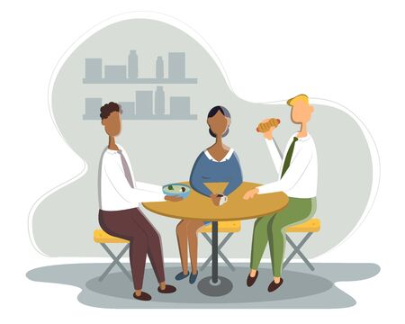 Business Lunch - vector illustration of office situation. Cartoon people characters of young female, male colleagues, partners having rest, talking. Scene with three employees.