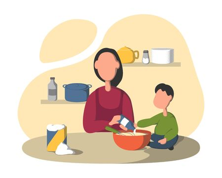 Cooking together in the kitchen. Mother with with a small child preparing meal, son helping mom, mother to prep batter. Family tradition, sharing chores. Flat vector illustration.