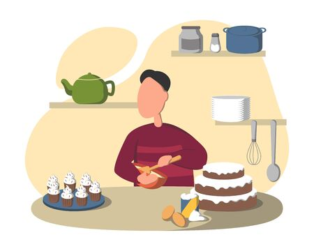 Man making cake and pastries, young man in sweather preparing healthy meal in kitchen. Interior of room with shelves and and dishes. Flat vector Illustration