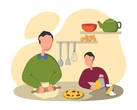 Father and Son Cooking Pizza Vector Illustration. Parent Teaching Child to Knead Dough. Cooked Homemade Pastry. Dad and Kid Flat Characters Preparing Dinner in Kitchen.