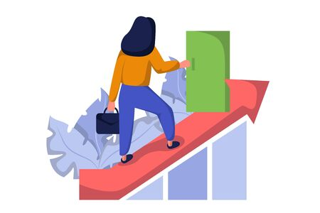 Goal achievement, successful business people. Progress and career ladder. Website landing web page template. Male and female characters. Skills improvement.  イラスト・ベクター素材