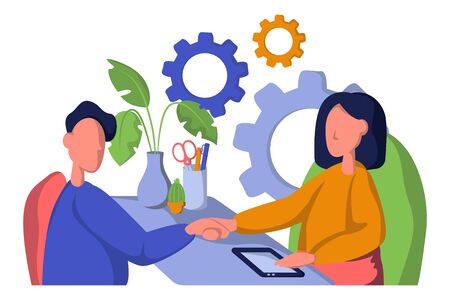 Business Partnership Set Vector. Business Man And Woman. Casual Handshaking. Connection.