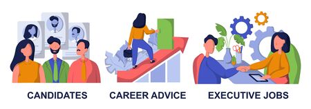 Recruitment and headhunting agency, employment service icons set. Employees hiring. Candidates, career advice, executive jobs metaphors.