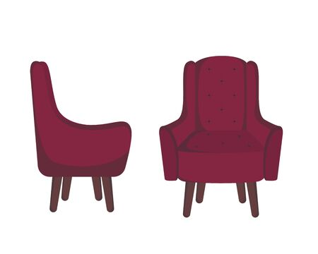 Red armchair icon. Cartoon of orange armchair flat vector icon for web design isolated on white background