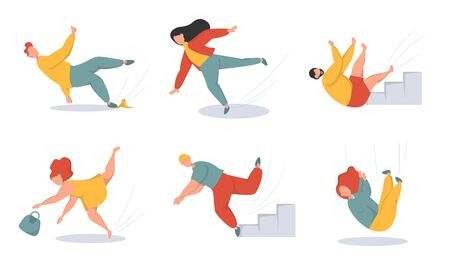 Falling people flat vector illustrations set. Men and women stumbling and falling down stairs characters. Bad luck, misfortune, fiasco. Business failure, company crash concept. Vector Illustration