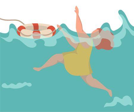 Junge Frau ertrinkt im Wasser, sie kann nicht schwimmen, sie ist schockiert. Mädchen, das die Hand erhebt, um Hilfe zu benötigen. Sie wird mit einem Rettungsring geworfen.
