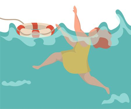 Young woman drowning in water, she cant swim, she is shocked. Girl raising hand up for needing help. She is thrown a life buoy.