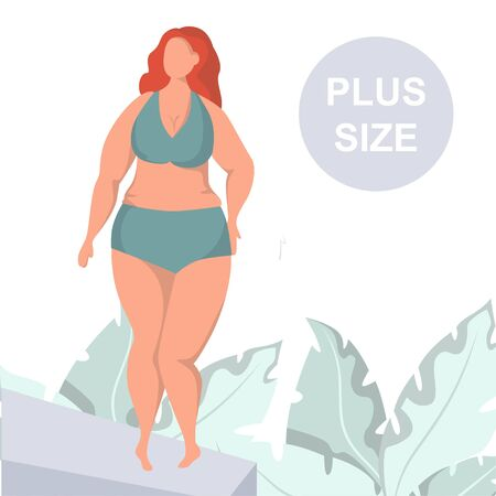 Sexy plus size woman demonstrating lingerie underwear on podium. Plus size model in runway fashion show. Ilustracja