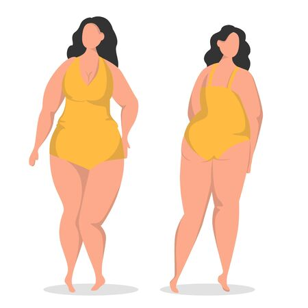 Flat vector illustration with plus size brunette. Body positive woman in swimsuit. Front and back view.