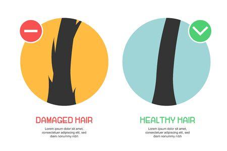 Oberfläche von gesundem und geschädigtem Haar unter dem Mikroskop. Haarfollikel Zustand Nahaufnahme. Medizinisches Konzept der Trichologie. Vektor-Illustration.