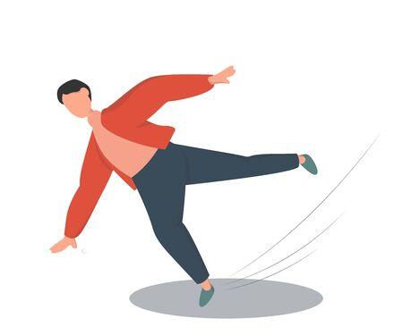 Jeune homme tombant sur le sol mouillé. Blessure et accident. Illustration vectorielle isolée dans un style plat.