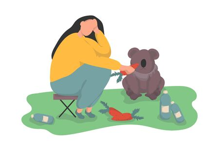 Woman volunteer feeds a koala with a carrot. The concept of caring for forest animals and protecting the ecosystem. Colorful vector illustration in flat style.