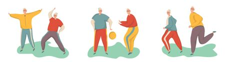 Elderly man doing exercises. Healthy lifestyle, active lifestyle. Sport for grandparents.Holding hands couple.Objects isolated on a white background. Flat vector illustration. Foto de archivo - 138198146