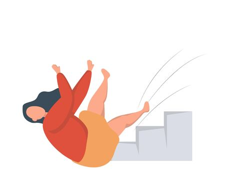 Woman falling down a flight of stairs. Injury and accident. Isolated vector illustration in flat style. Foto de archivo - 138197386