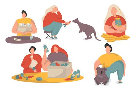 Collection of volunteers on a white background. Men and women feed forest animals, collect money, pack donation box. Help kangaroo and koalas concept.
