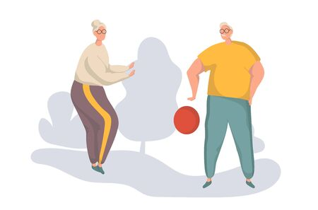 Active Elderly Man And Woman Playing Ball Vector. Isolated flat vector Illustration