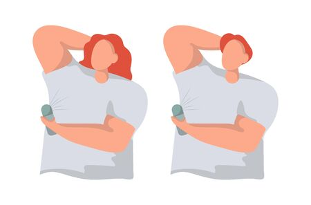 Man and woman use deodorant flat vector illustration. Hygiene and body care concept. Sweat spots prevention, hyperhidrosis people.