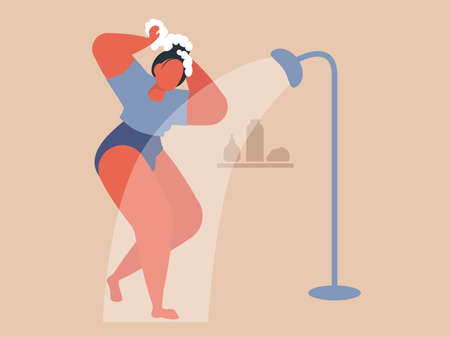 Woman taking shower. Cool vector flat design illustration on daily routine with confident adult female character covered in soap foam having a shower in bathroom. 向量圖像