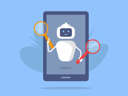 Chatbot search looks into a magnifying glass. Search Engine Optimization bot. Vector cartoon illustration