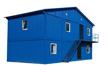 Blue mobile building in industrial site or office container on the white background. Stock Photo