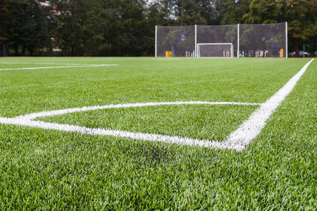 Marking the angle of the football field with artificial surface. Reklamní fotografie