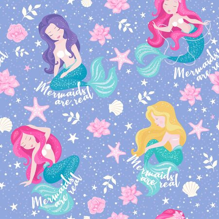 Lavender mermaid pattern. Mermaid sisters set. For kids t-shirts, fashion artwork, children books, prints and fabrics or wallpapers. Girl print. Fashion illustration drawing in modern style for clothes.
