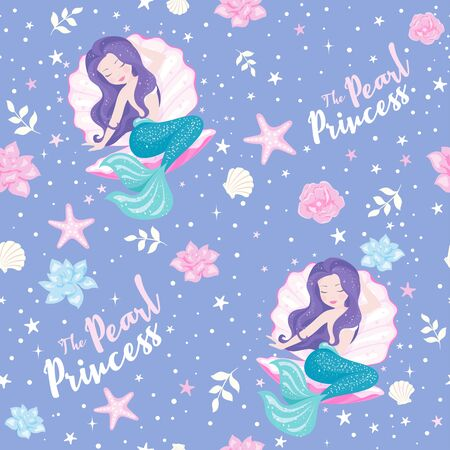 Lavender mermaid pattern. Mermaid set. For kids t shirts, fashion artwork, children books, prints and fabrics or wallpapers. Girl print. Fashion illustration drawing in modern style for clothes.