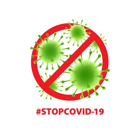 Art. Vector virus sticker on a white background. COVID-19. Human health, bacteria, microorganisms, viral cell. Illustration