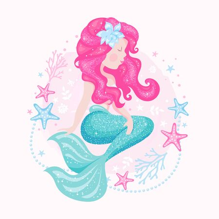 Art mermaid with pearls on white background. Fashion illustration drawing in modern style. Beautiful mermaid.