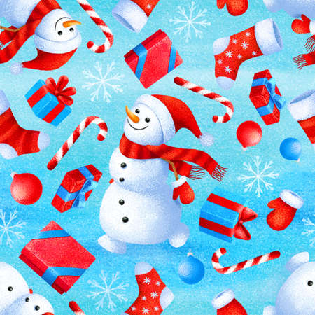 Seamless pattern with New Year and Christmas attributes snowman, sock, gift, snowflake, snow, candy, Christmas ball. Background for gift paper