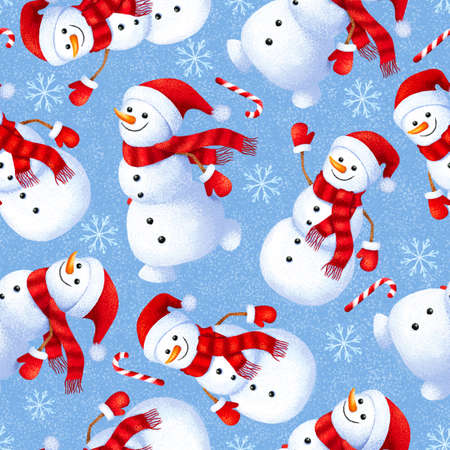 Seamless winter pattern with cute and funny snowman. Background for gift paper