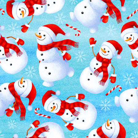 Seamless winter pattern with funny snowman. Background for gift paper and fabric print