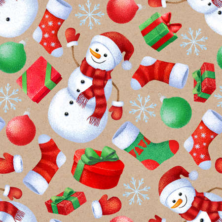 Seamless pattern with New Year and Christmas attributes. Background for gift paper and fabric.