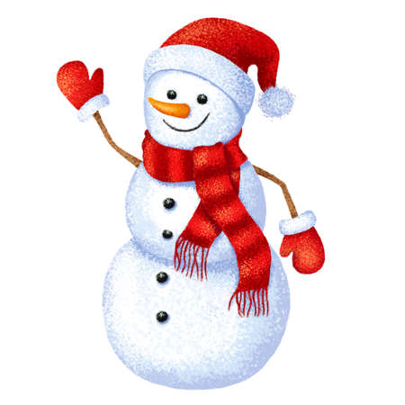 Christmas funny snowman on white background