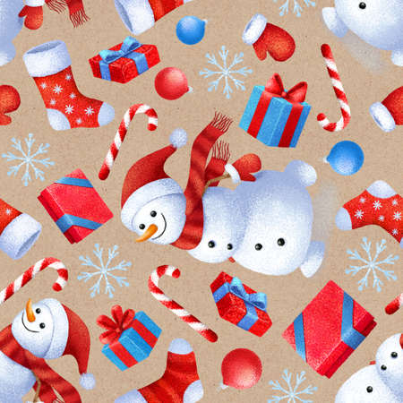 Seamless pattern with New Year and Christmas attributes. Background for gift paper.