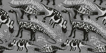 Vector seamless pattern with dinosaurs and tropical leaves on gray background. Background for textile.