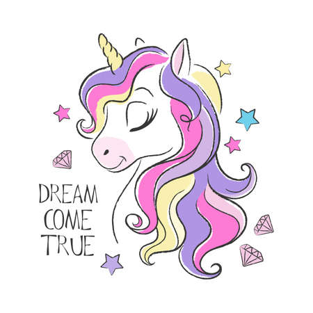 Cute unicorn. Fashion illustration drawing in modern style for clothes. Vector Illustratie