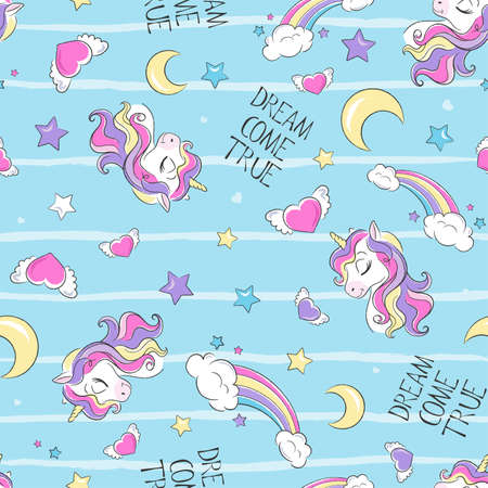 Unicorn pattern. Fashion illustration print in modern style for clothes or fabrics and books.