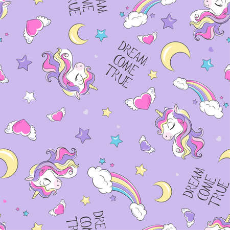 Cute unicorn pattern. Little dreamer. Fashion illustration print in modern style for clothes or fabrics and books. Dream come true. 写真素材