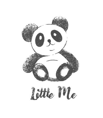 Cute panda print. Little Me text. Fashion illustration drawing in modern style for clothes.
