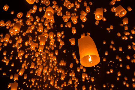 thailand culture: Floating sky lanterns