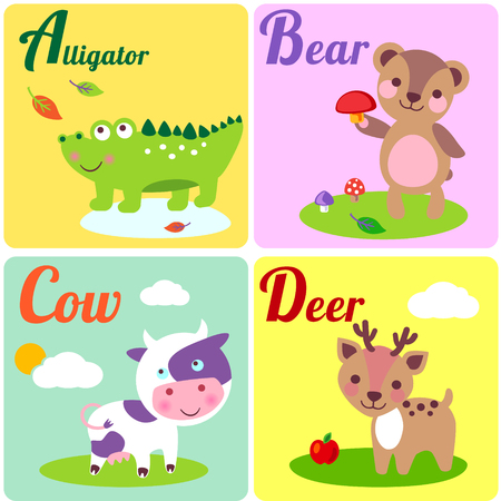 Cute zoo alphabet in vector. A, b, c, d letters. Funny animals for ABC book. Alligator, bear, cow and dear.
