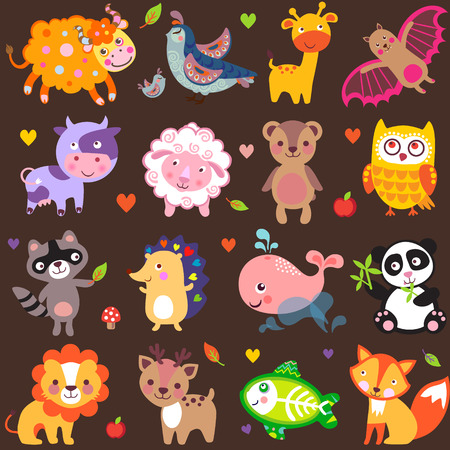 zoo animals: Vector illustration of cute animals